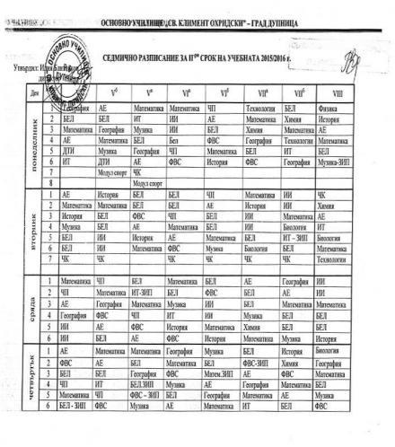 Седмично разписание 1-4 клас - ОУ Св Климент Охридски град Дупница
