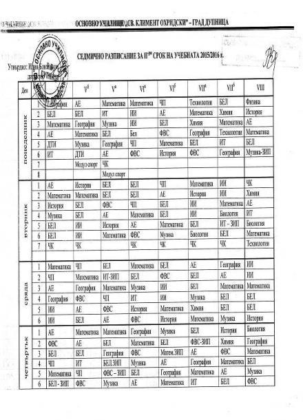 Седмично разписание 5-8 клас - ОУ Св Климент Охридски град Дупница