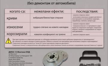 Престъргване на спирачни дискове без демонтаж в Монтана - Дина 13 Петкови и Сие